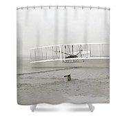 First Flight Captured On Glass Negative - 1903 Shower Curtain