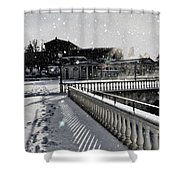 First Footsteps In The Snow Shower Curtain