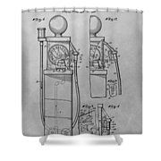 First Gas Pump Patent Drawing Shower Curtain