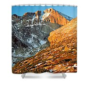 First Light At Longs Peak Shower Curtain