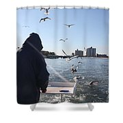 First Mate Filleting With Some Friends Shower Curtain