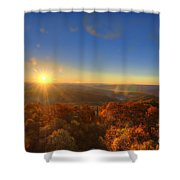 First Morning Light Striking Top Of Trees Shower Curtain