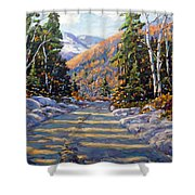 First Snow By Prankearts Shower Curtain by Richard T Pranke