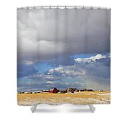 First Snow On Storybook Farm Shower Curtain