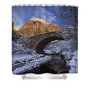First Snow Pine Creek Shower Curtain