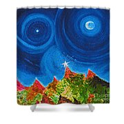 First Star Christmas Wish By Jrr Shower Curtain by First Star Art