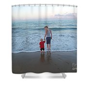 First Time At The Beach Shower Curtain