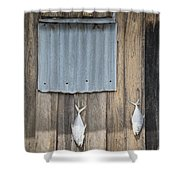 Fish Drying Outside Fisherman House Shower Curtain