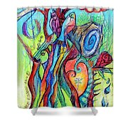 Fish Feather In Teapot Tree Guarded By Human Bird Shower Curtain