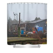 Fish House In Fog Shower Curtain