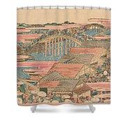 Fish Market By River In Edo At Nihonbashi Bridge  Shower Curtain by Hokusai