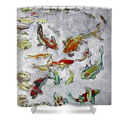Fish Pond V2					 Shower Curtain