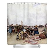 Fish Sale On The Beach  Shower Curtain by Bernardus Johannes Blommers