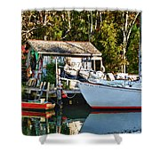 Fish Shack And Invictus Painted Shower Curtain