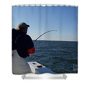 Fish Taking Line Shower Curtain