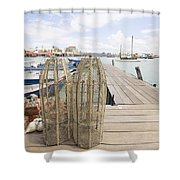 Fish Trap On Jetty In Penang Shower Curtain