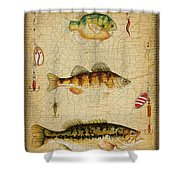 Fish Trio-c-basket Weave Shower Curtain