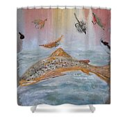 Fish With Bait Shower Curtain