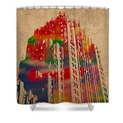 Fisher Building Iconic Buildings Of Detroit Watercolor On Worn Canvas Series Number 4 Shower Curtain
