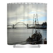 Fisherman At Newport Bay In Oregon II Shower Curtain