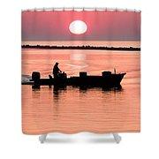 Fisherman At Sunrise Apalachicola Bay Florida  Shower Curtain by Bill Swindaman