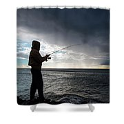 Fisherman Fishing While Storm Blows Shower Curtain