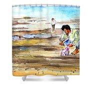 Fisherman On Las Canteras Beach Shower Curtain