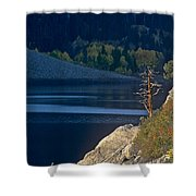 Fisherman On Lundy Lake Eastern Sierras California Shower Curtain