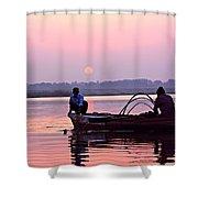 Fisherman On The Ganges River At Varanasi Shower Curtain