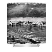 Fisherman Returns Home Shower Curtain