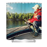 Fisherman Sitting On Foredeck Shower Curtain