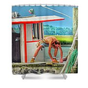 Fisherman Working On His Boat Shower Curtain
