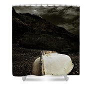 Fishermans Boat Parked On The Beach Shower Curtain
