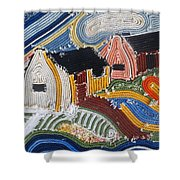 Fishermans Cottages String Collage Shower Curtain