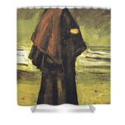 Fishermans Wife On The Beach Shower Curtain by Vincent Van Gogh