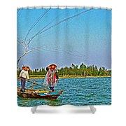 Fishermen Casting A Broad Net On Thu Bon River In Hoi An-vietnam Shower Curtain