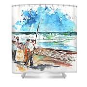 Fishermen In Praia De Mira 02 Shower Curtain