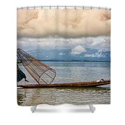 Fishermen In The Inle Lake. Myanmar Shower Curtain