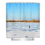 Fishermen On The Frozen River Shower Curtain