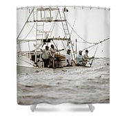 Fishermen Reel In Line From The Back Shower Curtain