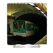 Fisheye View Of Paris Subway Train Shower Curtain