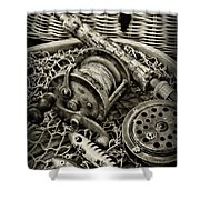 Fishing - All That Gear In Black And White Shower Curtain