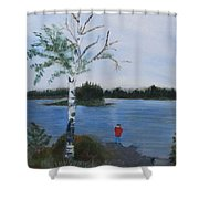 Fishing At First Connecticut Lake Shower Curtain