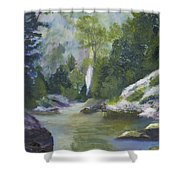 Fishing At The Falls Shower Curtain