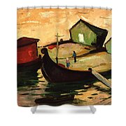 Fishing Barges On The River Sugovica Shower Curtain by Emil Parrag