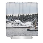 Fishing Boat After Snowstorm In Port Clyde Harbor Maine Shower Curtain