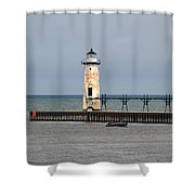 Fishing Boat And Lighthouse Shower Curtain