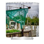 Fishing Boat And Pelicans On Posts Shower Curtain