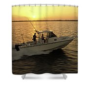 Fishing Boat Coming In At Sunset Shower Curtain