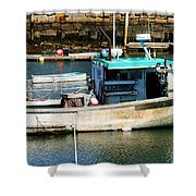 Fishing Boat In Rockport Shower Curtain